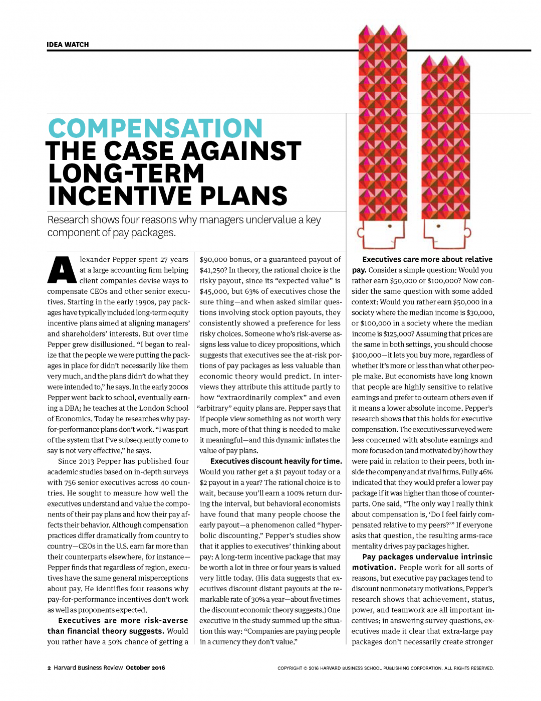 Harvard business review the case against long term incentive plans hobson leavy executive search for Long term incentive plan design